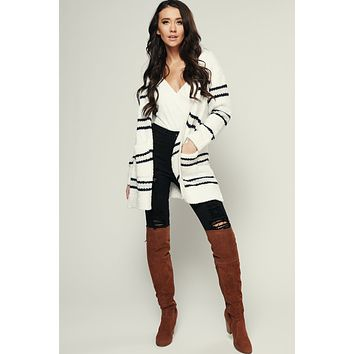 Stripe Up Knitted Cardigan (Ivory)