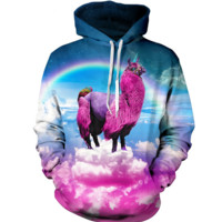 3D Unicorn Rainbow Pattern Womens Sweatshirt Hoodies