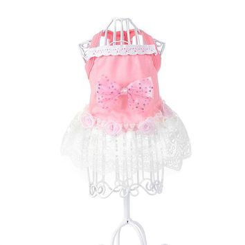 Big Bowtie Pink Dress Lace Skirt Pet Puppy Dog Princess Costume Apparel Clothes Fansy Sling poodle dresses for outdoor wearing