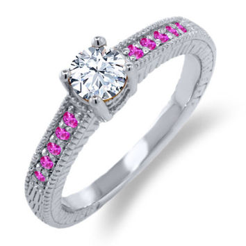 0.78 Ct Round White Topaz Pink Sapphire 925 Sterling Silver Engagement Ring
