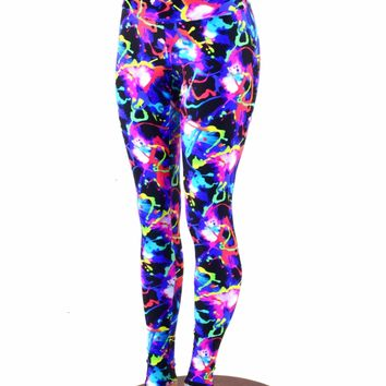 Paint Fling UV Glow High Waist Leggings