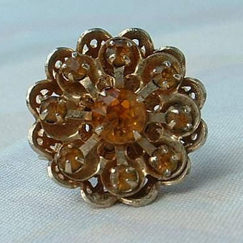 Topaz Rhinestone Cocktail Ring Floral Openwork Design Adjustable Vintage Jewelry