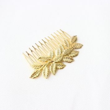 2017 New Arrival Wedding Bridal Gold Color Leaf Hair Clip Comb Women Hairpin Hair Accessory H237