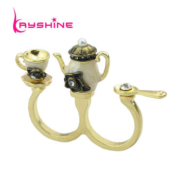 vintage style Charming hot-sale rhinestone coffee kettle cup antique double finger rings