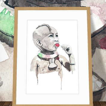 Cute Original Watercolor Painting on Watercolor paper. Watercolor Art of African child with Red Lollipop.