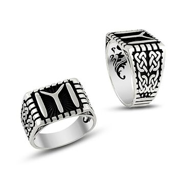 Monogram sterling silver mens ring