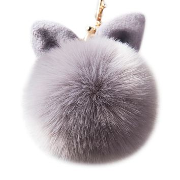Pompon Fluffy Porte Clef Pompom De Fourrure Women Femme Pom Pom Keychain Rabbit Ear Fur Ball Key Chain Rings Llavero Bag 6C0033