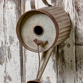 Rustic Birdhouse Watering Can Metal Weathered Look Primitive Country Yard Decor