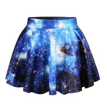 Womens Pleated Skirts Galaxy Space Printed Skirt Saia = 1946898692