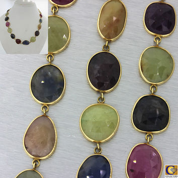 14k Solid Yellow Gold Sapphire Ruby Multi Color Quartz Gemstone Necklace