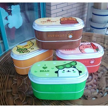 High Quality Cartoon Healthy Plastic Bento Box 600ml Lunch Bento Boxes Food Container Dinnerware Lunchbox Cutlery