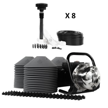 All in One Professional 48-Plant Grow Kit - Includes Drip Irrigation Emitters, Pump, Hydrolock Caps, Fittings, Bubbler Manifold, Tubing. Indoor & Outdoor Use - USA Made