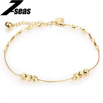 Bohemia Gold Color Lucky Bead and Bells Women Ankle Bracelet