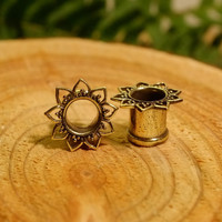 Lotus brass plugs tunnels, ear gauges, tribal flower hippie gypsy sunflower jewelry double flare 8g 6g 4g 2g 0g 00g 1/2 9/16 5/8 11/16 inch