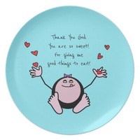 Pink Emoji Children's Meal Prayer Melamine Plate