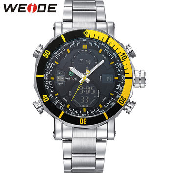 Casual Men Watches Big Dial Analog Digital Dual Time Alarm Stopwatch Auto Date Display Stainless Steel Band Military Watch