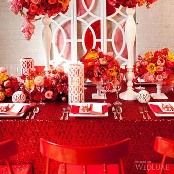 Red Sequin Tablecloth We can do custom sizes