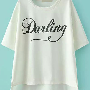 Darling Graphic Print White T-Shirt