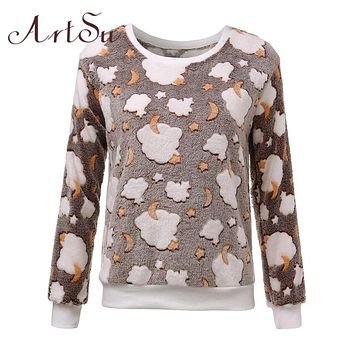 ArtSu New 2017 Womens Winter Long Sleeve Pullover Jacket Sweater Coat Hooded Jumper Tops EPHO80045