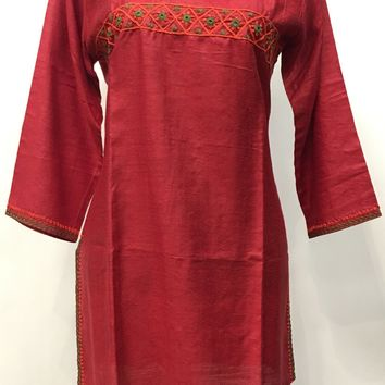 Tussar Silk Kurti with detail Hand Embroidery- Red