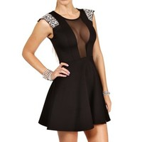 Pre-Order: Black Scuba Gemstones Short Dress