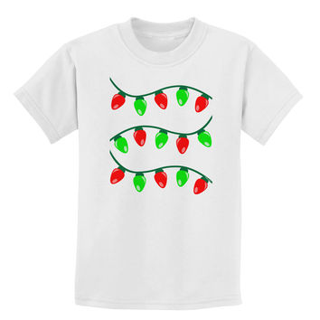 Christmas Lights Red and Green Childrens T-Shirt