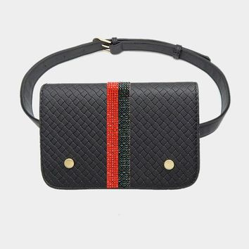 Textured Leather Crystal Pave Color Block Fanny Pack (Click For More Colors)