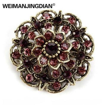 ac PEAPO2Q WEIMANJINGDIAN Brand Vintage Gold Color Plated Crystal Rhinestones Flower Antique Brooch Pins for Women in Assorted