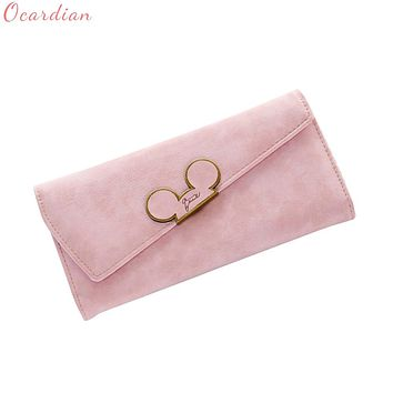 Fashion Hot Hit Color Scrubs Women Wallet Ladies Long Swash-lid Tri-fold Mickey Head Purse Slim Phone Coin Pocket Wallets SEP12