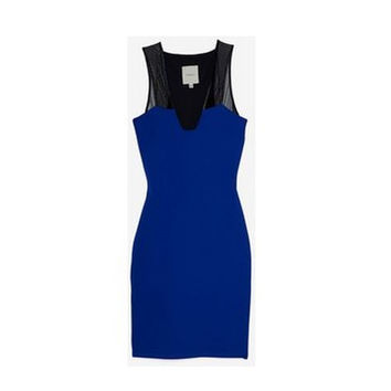 Mason By Michelle Mason Plunge Mesh Royal Blue Dress