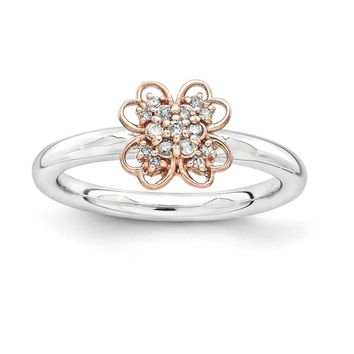 Sterling Silver & 14k Gold RG-plated Stackable Expressions Diamond Flower Ring