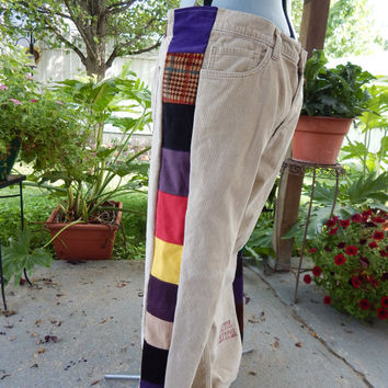 Mens UpCycLed Corduroy Patchwork Pants Grateful Dead Pants  Hippie Patchwork Festival Pants, Upcycled Pants, Corduroy pants, OOAK