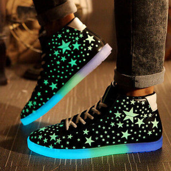 black noctilucent girls platform luminous shoes women glow in the dark sneakers