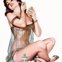 CLASSIC SEXY 1950'S PIN-UP GIRL leggy buxom sheer lingerie perfume 24x36