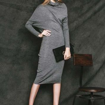 Long Sleeve Batwing Sleeve Women's Sheath Dress