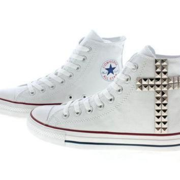DCCKHD9 Studded Converse Silver Cross pattern studs with by customduo