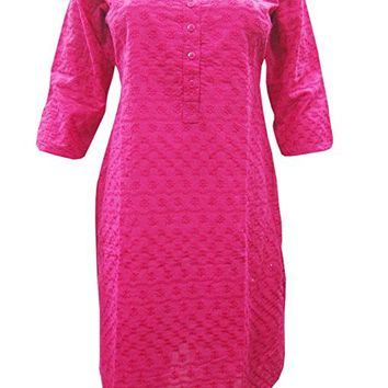 Indian Embroidered Kurti Pink Tunics Blouse Womans Cotton Designer Dress Kurta S