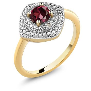 Red Garnet and Accent Diamond Ring