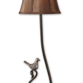 Buffet Table Lamp - Dark Bronze Body With Antiques Silver Details And Bird Ornament