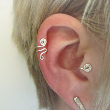 Ronin SET of LEFT Ear Cuff & 'B' Tragus Cuff silver by ZyDesigns