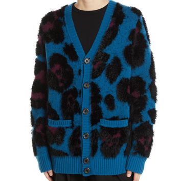 Marc Jacobs V-Neck Button-Front Leopard Wool-Cashmere Cardigan and Matching Items