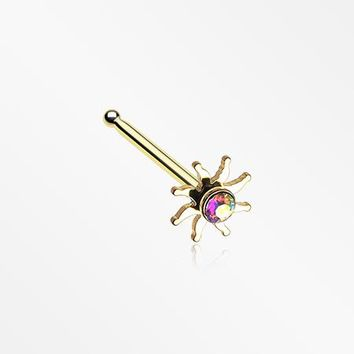 Golden Blazing Sun Sparkle Nose Stud Ring