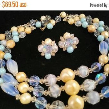 Now On Sale Rare Designer Vintage 1950s Signed Laguna Beautiful Beaded Crystal Glass & Rhinestones 3 Strand Faux Pearl Necklace Earring Set
