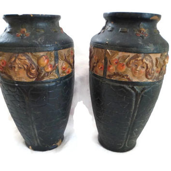 Antique Pair French Pottery Vases , Majolica ,  Yellow Clay, early 19th century.