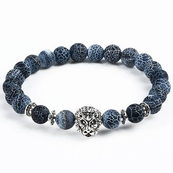 STYLEDOME Leopard Tiger Eye Lion Head Bracelet Owl Buddha beads Bracelets Bangles Charm Natural Stone Bracelet yoga Jewelry Men Women