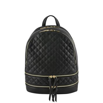 Metallic Quilted Backpack Black