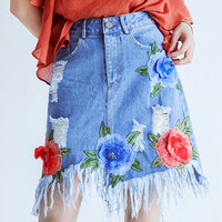 Top quality women summer skirt 2017 new brand runway embroidery appliques jeans skirts fashion fringe empire slim skirts