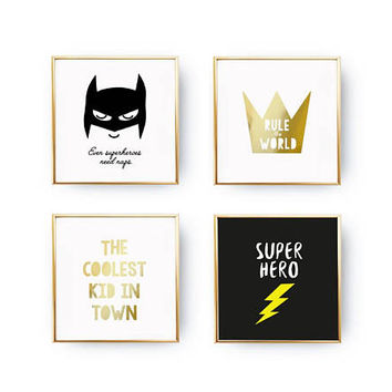 SET of 4 Prints, Super Hero Set, Baby Decor, Gold Foil Print, Rule The World, Nursery Poster, Typography Poster, Home Decor, Kids Room Decor
