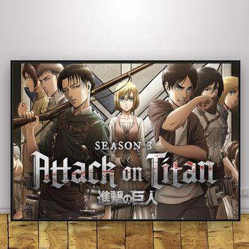 Attack on Titan Silk Fabric Poster And Print Wall Art Picture Painting Home Decor