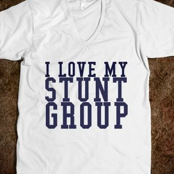 I LOVE MY STUNT GROUP UNISEX V-NECK TEE